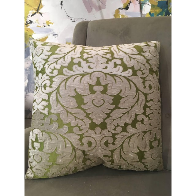 Contemporary Contemporary French Green and Ivory White Damask Velvet Throw Pillows - a Pair For Sale - Image 3 of 11