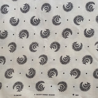 Boho Chic Sister Parish Desmond Black and Ivory Linen Fabric- 1 1/2 Yards Preview