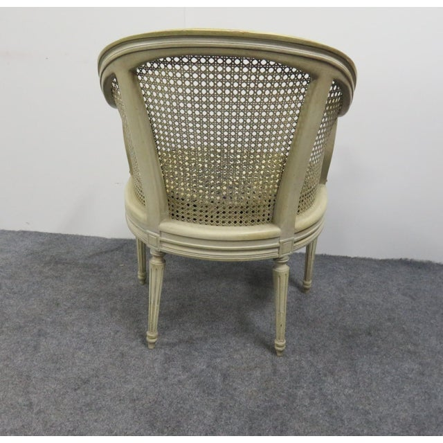 Louis XVI Cream Caned Leopard Side Chair For Sale - Image 4 of 5