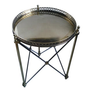Neoclassical Satin Steel & Brass Tray Table For Sale