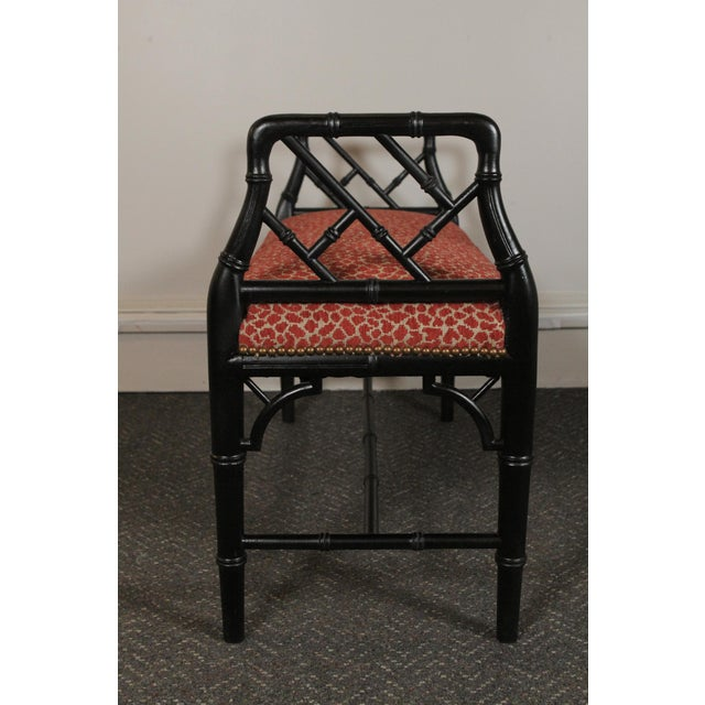 Faux Bamboo Wood Upholstered Bench For Sale - Image 10 of 11