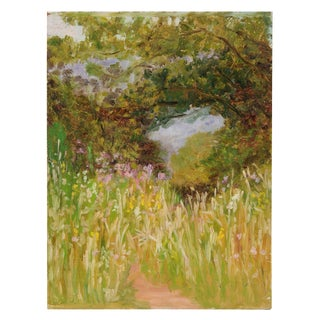 Lush Impressionist Forest Landscape, Oil Painting, Circa 1900-1930s For Sale