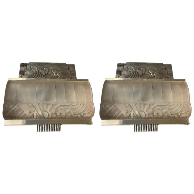 French Art Deco Sconces With Geometric Motif - a Pair For Sale