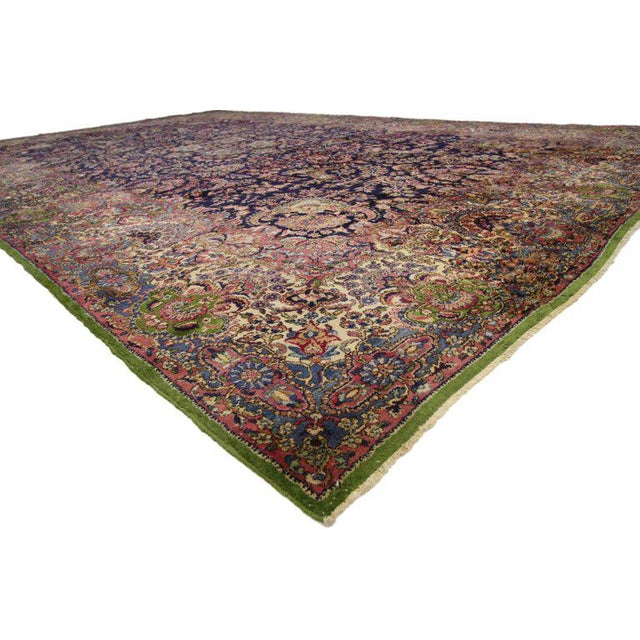 """Textile Antique Persian Kirman Palace Size Rug - 11' X 17'4"""" For Sale - Image 7 of 10"""