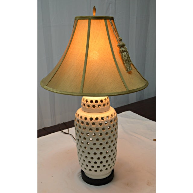 Mid-Century White Perforated Porcelain Table Lamp For Sale In Miami - Image 6 of 9