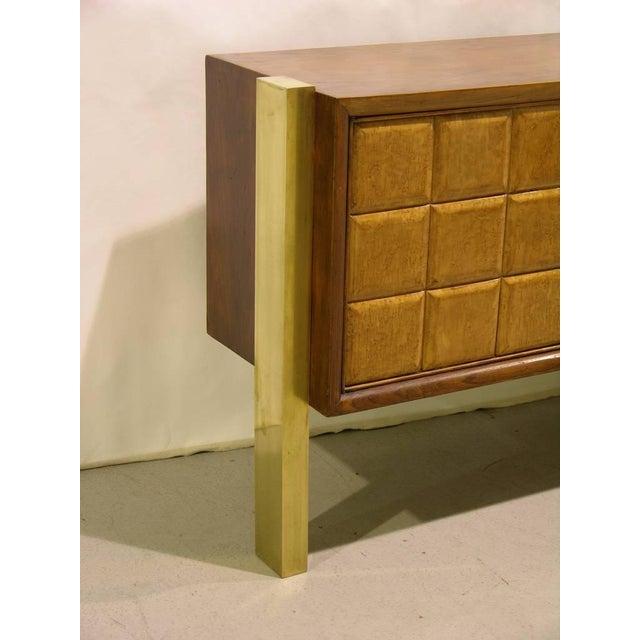 1960s 1940s Minimalist Dark & Light Wood Cabinet Sideboard on Brass Legs For Sale - Image 5 of 12