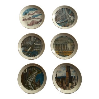 Franklin McMahon Continental Illinois National Bank Chicago Scene Plates - Set of 6