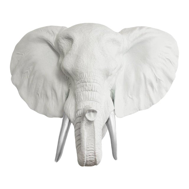 Wall Charmers White Silver Faux Taxidermy Elephant Head Wall Mount