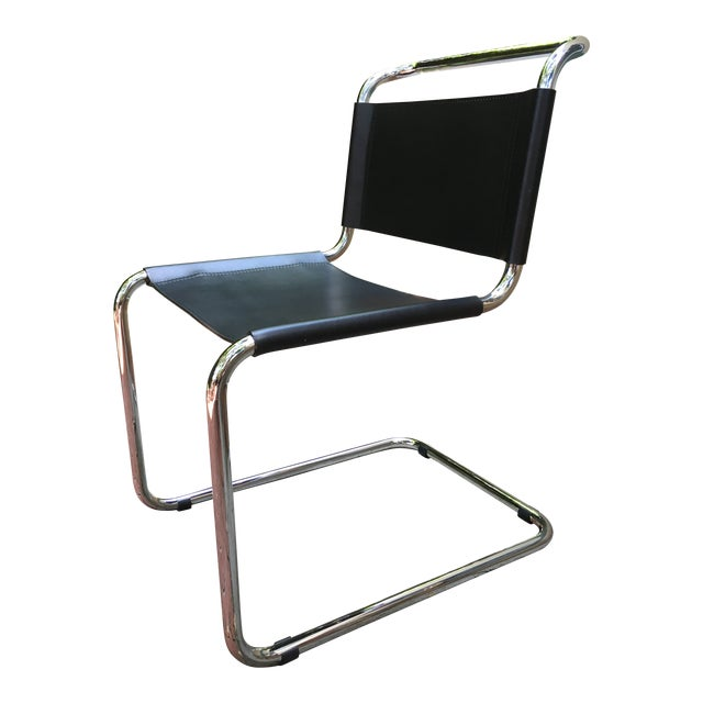 Mid-Century Modern Breuer Spoleto Black Leather & Cantilevered Tubular Chrome Dining Chair For Sale