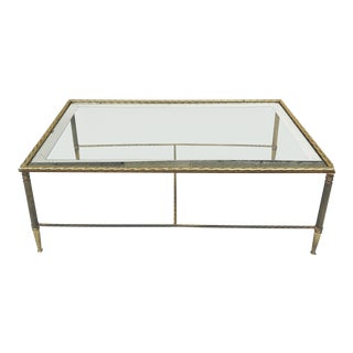 Maison Bagues Glass Top Brass Coffee Table For Sale