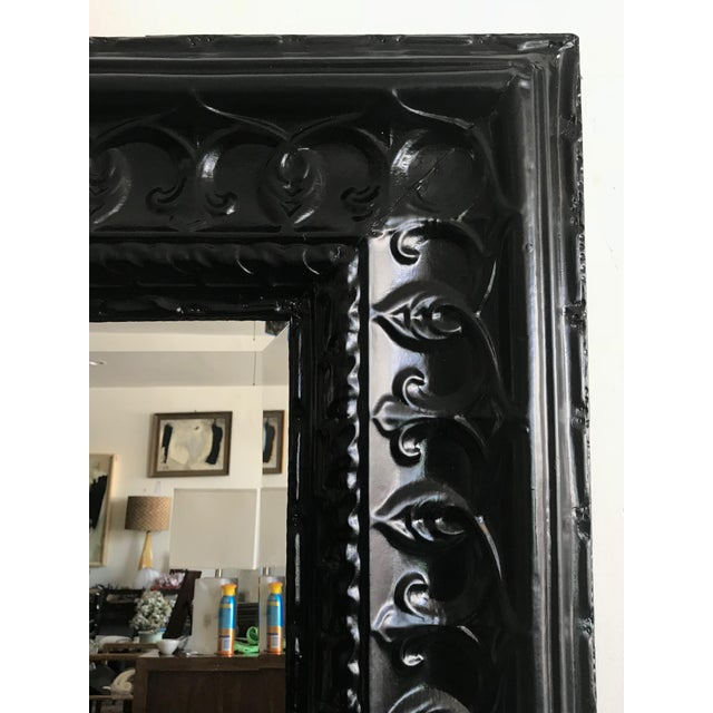 "Offered is a chic and dramatic ""vintage tin ceiling tile"" wall mirror painted a rich ebony color. Well made one-of-a-kind..."