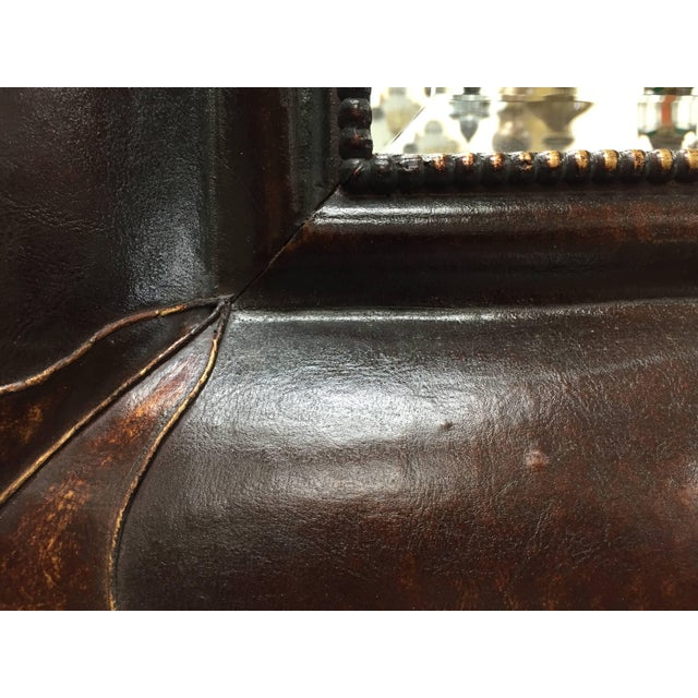 Leather Wrapped Mirrors, Pair For Sale - Image 9 of 11