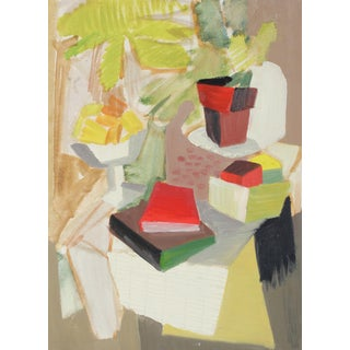 Abstracted Still Life With Books Oil Painting on Paper C.1943 For Sale