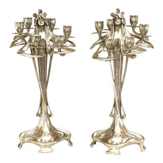 Art Nouveau Silvered Pewter Figural Candelabras - a Pair For Sale