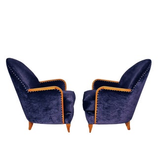 1925 Pair of Small Art Deco Armchairs, Sycamore, Velvet - France For Sale