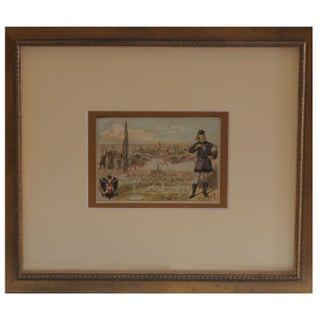 Early 1900s Framed French City Card, Vienna
