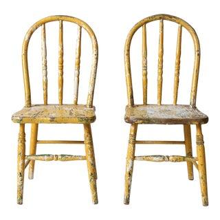 Vintage Kids Spindle Back Chairs - Set of 2 For Sale