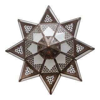 Moroccan Moorish Star Shape Frosted Glass Lantern Light Shade For Sale