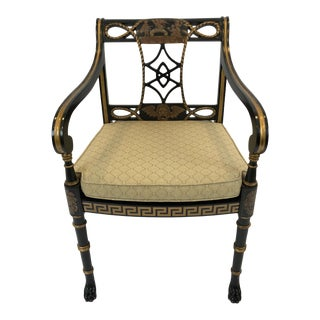 1980s Vintage Greek Key Motife Regency Style Arm Chair Club Chair For Sale