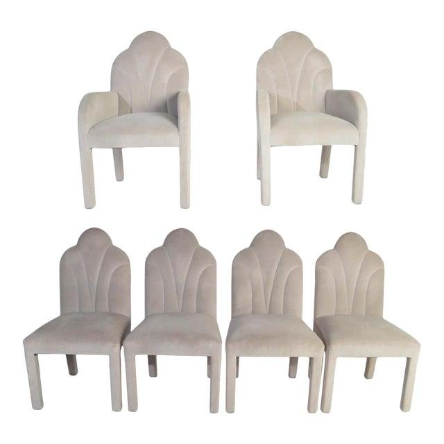 Art Deco Revival Hollywood Regency Dining Chairs in Soft Velvet For Sale