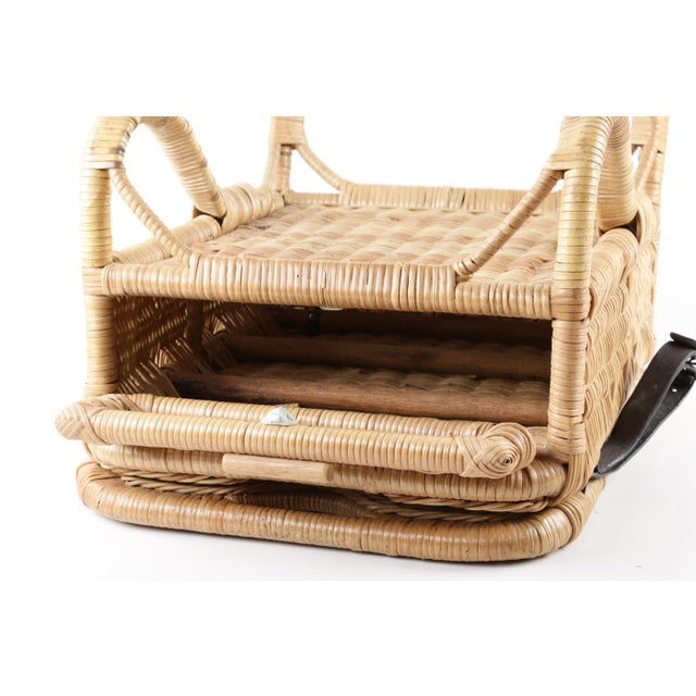 Yellow Vintage Wicker Picnic Basket Folding Chair For Sale - Image 8 of 13