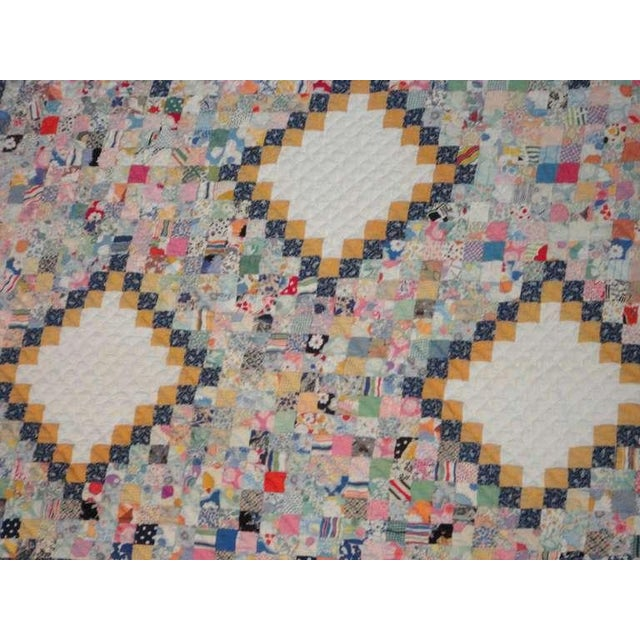 American Fantastic Mini-Pieced Postage Stamp Quilt from Pennsylvania For Sale - Image 3 of 10