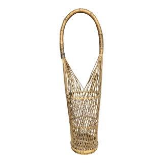 Vintage Hand Woven Wine Basket Holder For Sale