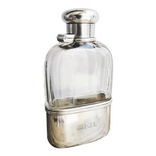 Antique Tiffany & Co Sterling Silver and Glass Ladies Flask For Sale