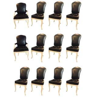 Maison Jansen Black Leather Serge Roche Carved Dining Chairs - Set of 12 For Sale