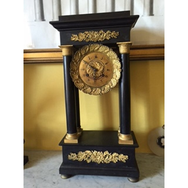 Fine quality gilt metal & black marble portico mantel clock. First half 19th century. Gilt and metal are bright &...