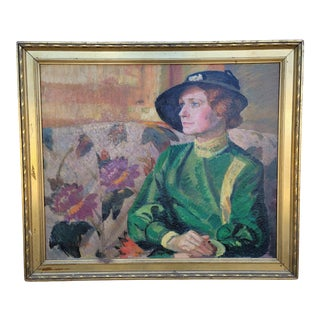 Ted Schuyler 40's Female Figure Oil Painting For Sale