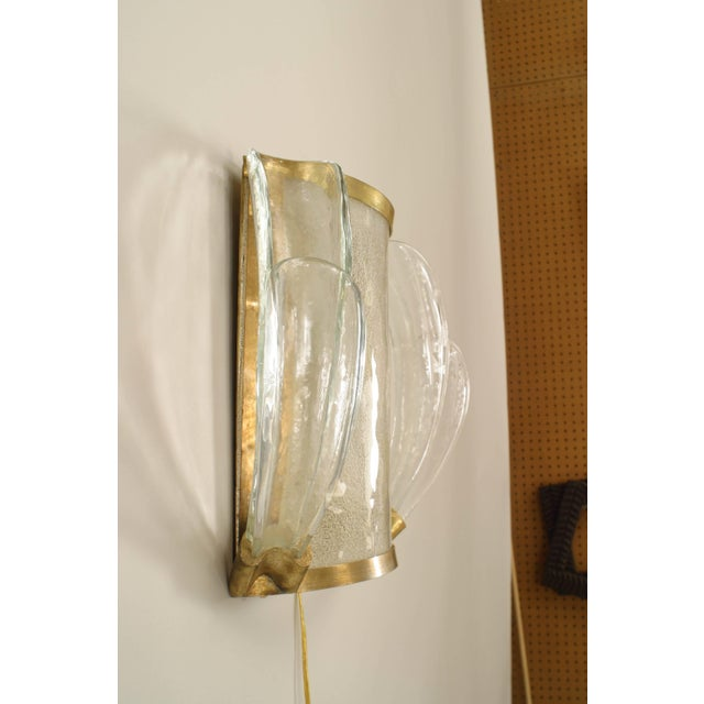 1940s 1940s French Bent Glass and Feather Design Sconces - a Pair For Sale - Image 5 of 7