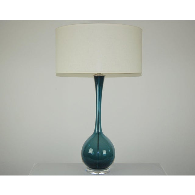 Vintage Swedish glass table lamp designed by Arthur Percy for Gullaskruf in the mid-1950s, imported and sold by The Marbro...