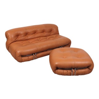 """Scarpa """"Soriana"""" Settee and Ottoman for Cassina For Sale"""