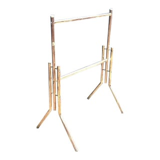 Hollywood Regency Brass Towel Rack For Sale
