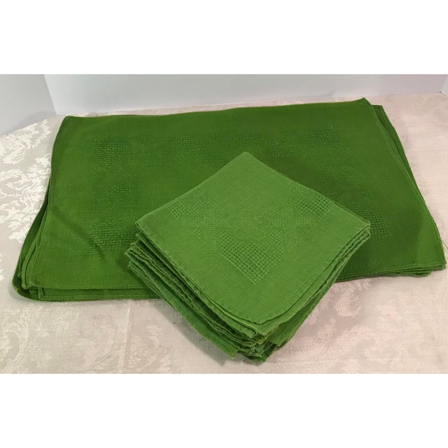 Vintage Lime Green Woven Placemats and Napkins - Set of 8 For Sale - Image 9 of 9
