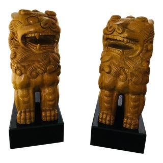 Pair of Wood Carved Foo Lions For Sale