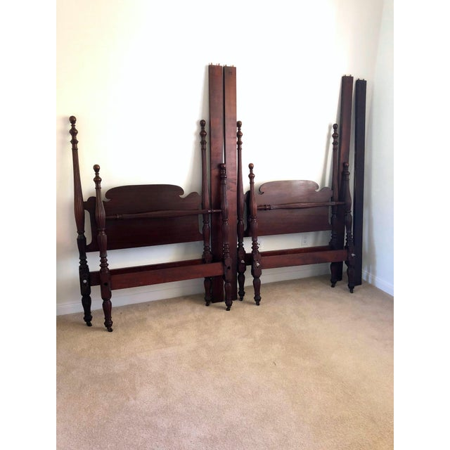 Wood Early 20th Century Federal Mahogany Carved Four Post Twin Beds - a Pair For Sale - Image 7 of 7