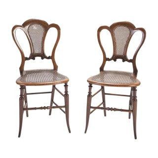 Pair of English Mahogany Side Chairs With Cane Seats For Sale
