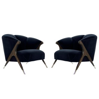 1950s Modernist Karpen Lounge Chairs-a Pair For Sale