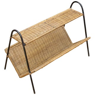 Iron Rattan Magazine Rack Book Shelf Mid-Century as Modern Color Inc Paul Tuttle For Sale