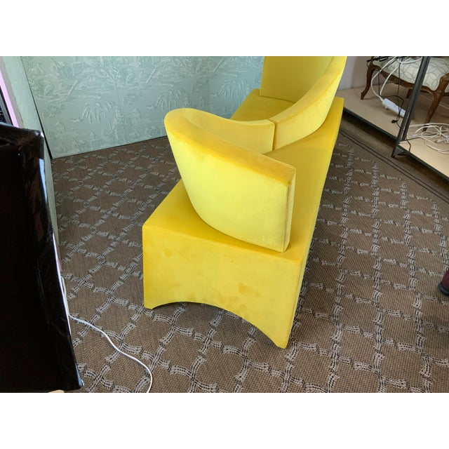 Newly upholstered in yellow velvet/...the Tete a Tete style is mid century and a photo is included of the occasional...