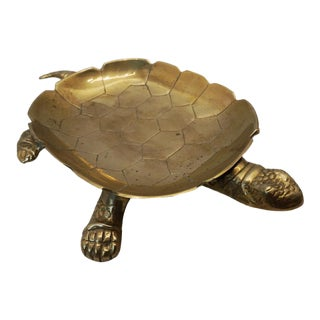 Vintage Solid Brass Turtle Ashtray For Sale