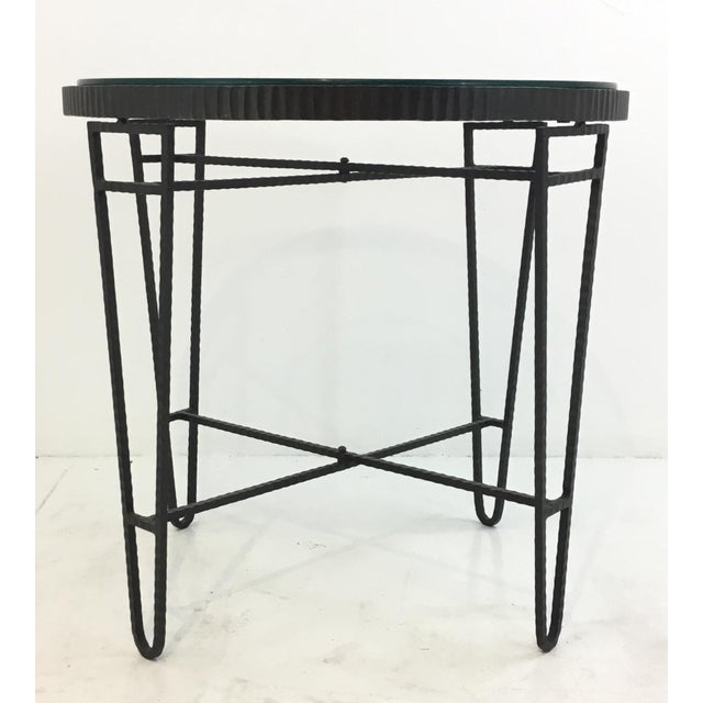 Stylish industrial modern iron/wire/glass round side table, showroom floor sample