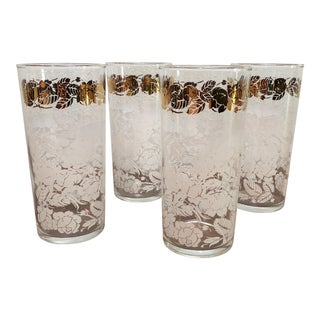 Mid Century Floral White and Brass Tall Boy Glasses For Sale