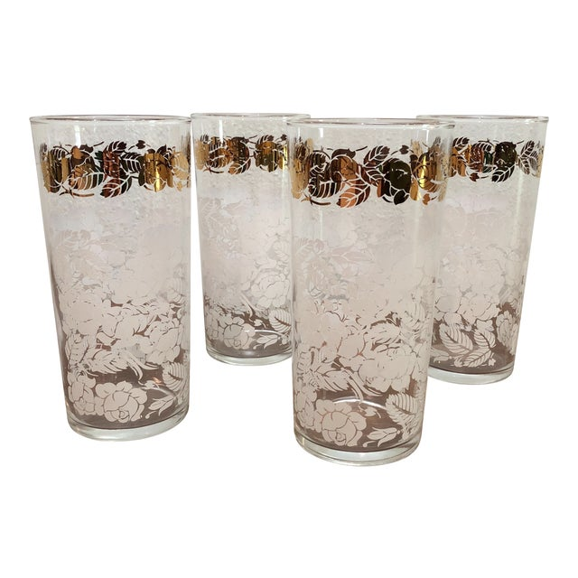 Mid Century Floral White and Brass Tall Boy Glasses - Image 1 of 5