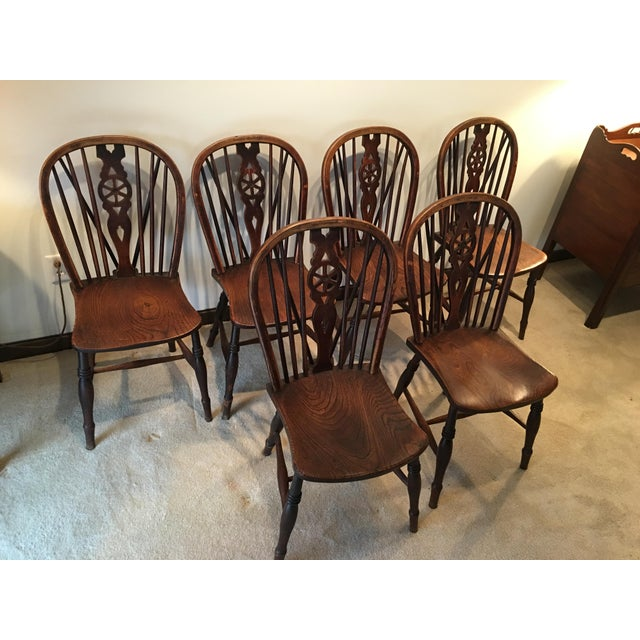 Windsor Oak Dining Room Kitchen Chairs Wagon Wheel Brace