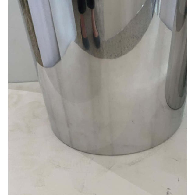 "Metal 33"" Drum Pedestals Stainless Steel by Paul Mayen for Habitat - a Pair For Sale - Image 7 of 11"