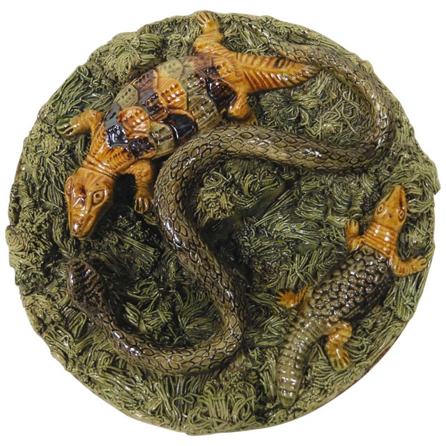 19th Century Country Manuel Mafra Majolica Portuguese Palissy Wall Platter For Sale - Image 4 of 4