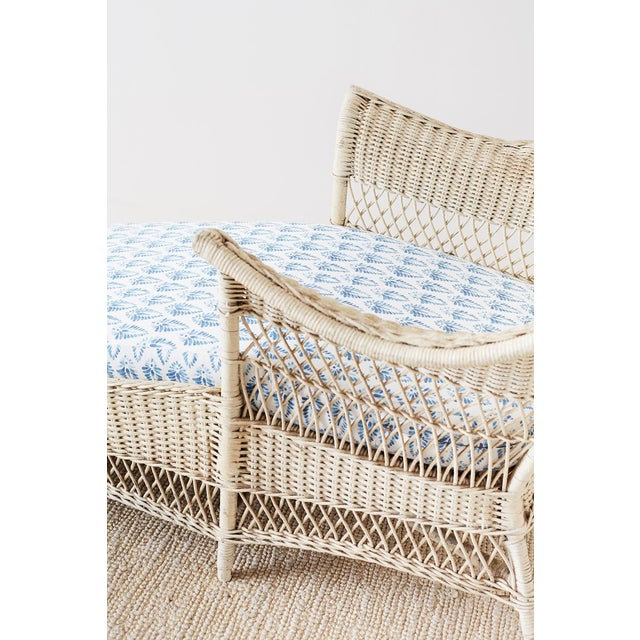 Early 20th Century Vintage Painted Bar Harbor Willow and Wicker Chaise Lounge For Sale - Image 12 of 13